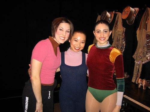 Lisa backstage with <i>A Chorus Line</i> cast members Mara Davi and Natalie Cortez