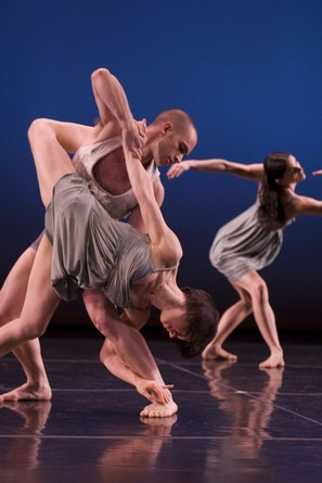 Stephen Petronio Company 'BLOOM' Pictured: Elena Demianenko and Jonathan Jaffe-foreground, Jimena Paz in back