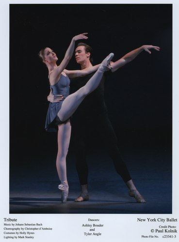 Dancers Ashley Bouder and Tyler Angle perform in 'Tribute' at the New York City Ballet. June 9, 2007.
