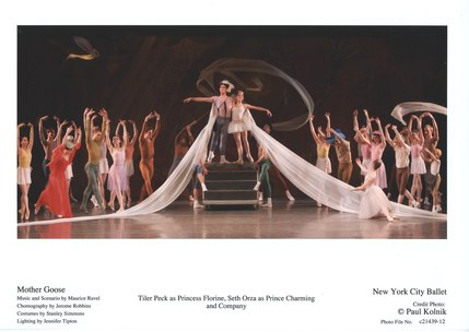 Tiler Peck as Princess Florine, Seth Orza as Prince Charming and Company in New York City Ballet's Mother Goose