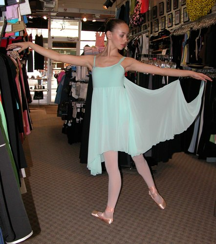Mint 8 way dress by Body Wrappers. Modeled by Skylar Brandt. Available at <a href='http://www.onstagedancewear.com'>OnStageDancewear.com</a>.