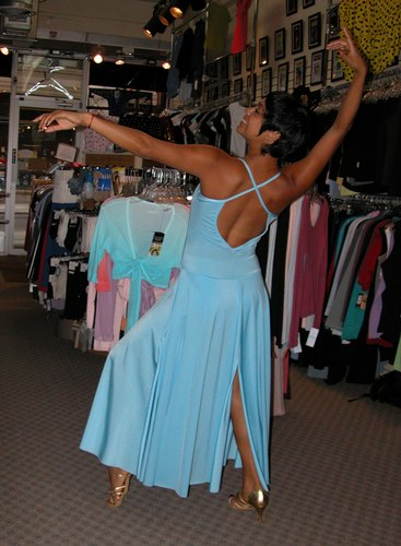 An Electric Blue Dress. Modeled by Talia Castro-Pozo. Available at <a href='http://www.onstagedancewear.com'>OnStageDancewear.com</a>.