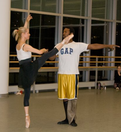 Kat Wildish in rehearsal at the Alvin Ailey School with Royce Zackery