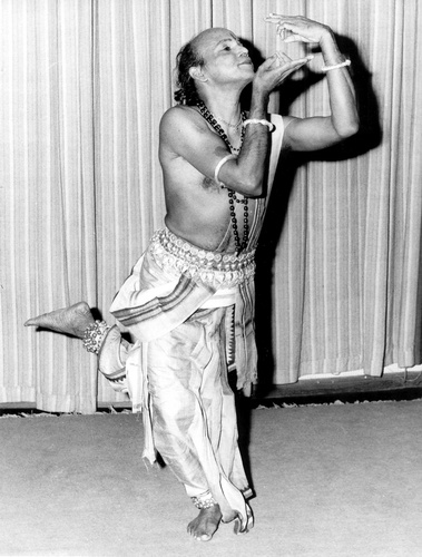 Guru Kelucharan Mohapatra one of the architects of modern Odissi dance, (teacher of the founder of Nrityagram, Protima Bedi) in a pose which represents 'kiss'.