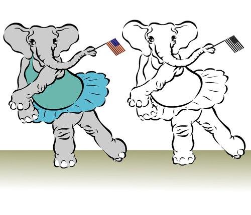 Two Ballet Elephants in Tendu Back