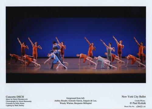 l-r: Bouder, Garcia, De Luz, Whelan, Millepied in New York City Ballet's 'Concerto DSCH'