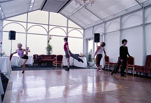 Jennifer Muller's dancers warm up