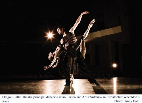 Oregon Ballet Theatre's Gavin Larsen and Artur Sultanov in Christopher Wheeldon's RUSH