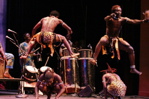 Dancers perform with Kusun Ensemble, West African country of Ghana