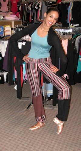 Kimberly is wearing Striped Pants from Harmonie, Style HVS04, $39.95; a Black American Ballet Theater Wrap, $49.99; and a Mint Green Leotard from Motionware, Style 2626, $39.99. Available at <a href='http://www.onstagedancewear.com'>OnStageDancewear.com</a>.