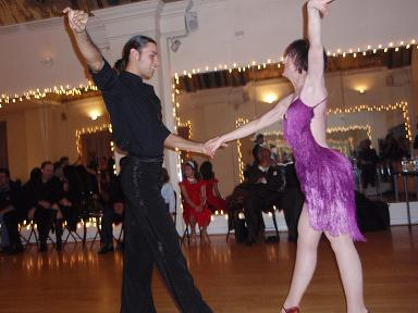 Dance Times Square in-house competition. Teacher Manuel Favilla and his student.