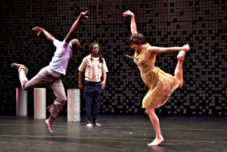Left to right: Olivier Tarpaga, David Rousseve, and Esther M. Baker-Tarpaga in Saudade