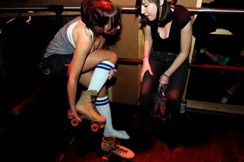 Putting on Roller Skates at the Down & Derby Roller Disco