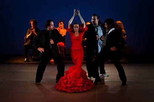 Cast of Pasion Flamenca Left, Director Jorge Navarro, center Rebeca Thomas (in red)