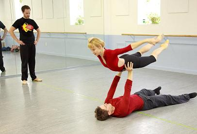 Choreographer Matthew Neenan (left) is working with BalletX dancers Elizabeth Gaither and Eric Otto during rehearsal of his new work 'Last of the Year.' Photo: Lois Mauro.